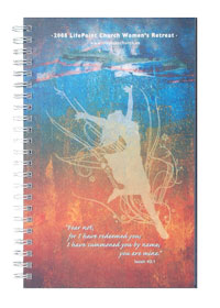 wirebound prayer journal with full color top sheet and clear poly cover